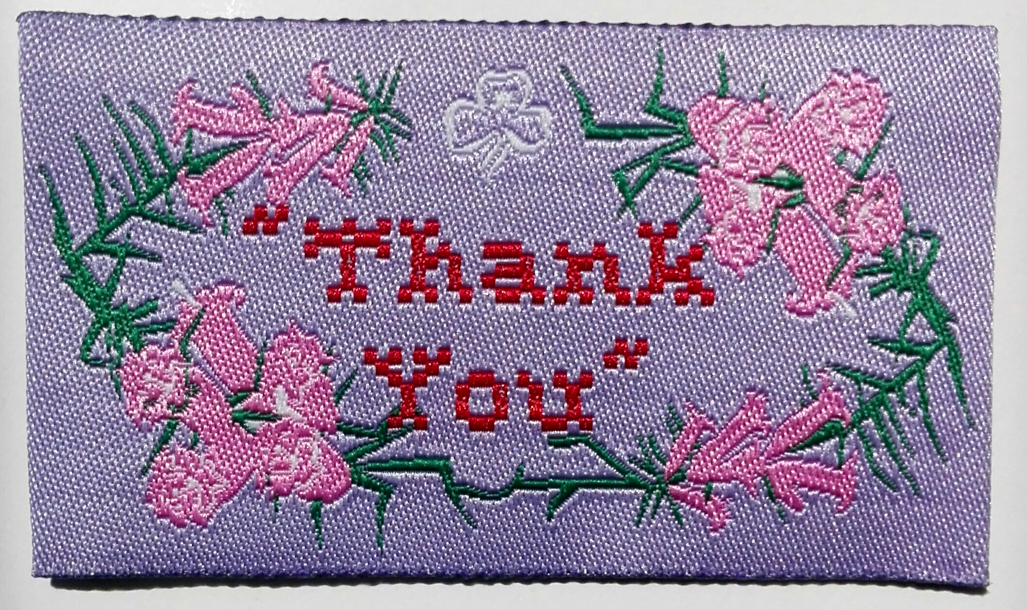 Thank You Badge - Pink Heath